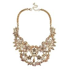 aliexpress collar necklace images Vintage hollow flowers statement collar necklace gold chunky jpg