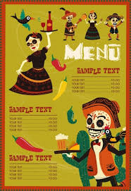 mexico menu template traditional costume scary masks decor free
