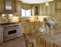 French Kitchen Island Marble Top L Shaped Cream Marble Counter Top Brown Varnished Pine Wood