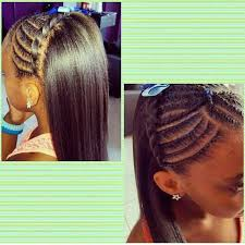young black american women hair style corn row based pretty cornrow style for a little girl with straightened hair