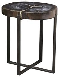 Black Accent Table Adenah Black Petrified Wood Accent Table Large Rustic Side