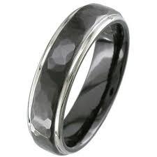 black zirconium wedding bands hammered effect two tone black zirconium wedding ring zirconium