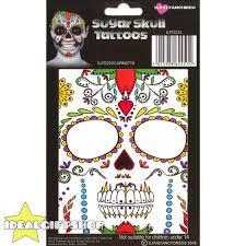 temporary face tattoos halloween fancy dress adults sugar skull