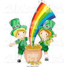 clip art of st patricks day leprechaun kids with gold at the end