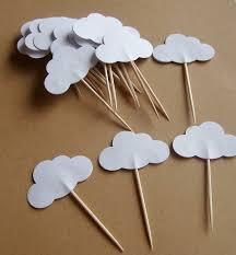 set de table originaux 20 pics parti nuage blanc nuage cupcake pics toppers