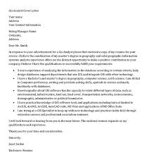 gis analyst cover letter sample geographic information systems