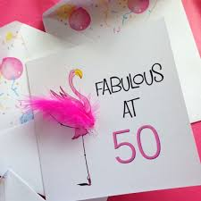 50 birthday card birthday card 50th birthday pink flamingo