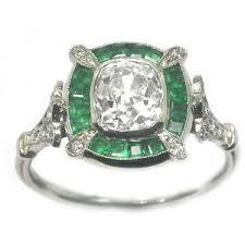 engagement rings 1 07ct diamond art deco platinum emerald