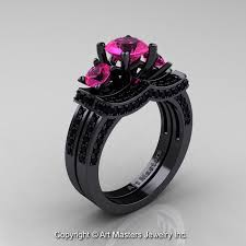 black and pink engagement rings 14k black gold three pink sapphire black diamond