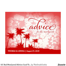 Newlywed Cards Gc Red Newlywed Advice Card Tropical Palm Palms Advice Cards