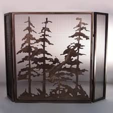 meyda tiffany custom 12393 trees fireplace screen antique copper