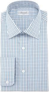 charvet small plaid barrel cuff dress shirt bluewhite where to