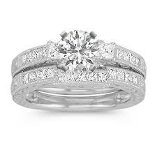 princess cut wedding set vintage princess cut diamond platinum wedding set with channel