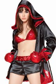 Boxer Halloween Costume Men Alluring Charming Sequined Embellished Black Polyester Champion