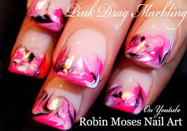 diy easy pink and black no water drag dry marble nail art design