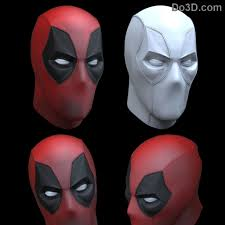 3d printable model deadpool mask faceshell with 6 interchangeable