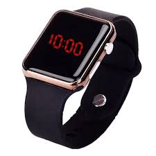 led display cool digital black sports watch with silicone band