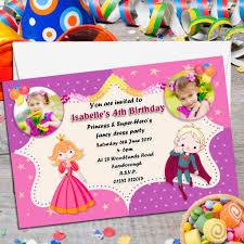 Personalised Birthday Invitation Cards 10 Personalised Princess U0026 Super Hero S Birthday Party Photo