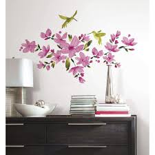 roommates 5 in x 19 in pink flowering vine peel and stick wall pink flowering vine peel and stick wall decals rmk2496scs the home depot