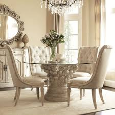 Tufted Leather Dining Chair Carved Beige Acrylic Based Dining Table With Round Glass Top