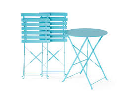 Patio Cafe Table And Chairs 3 Piece Patio Bistro Set Blue Steel Fiori