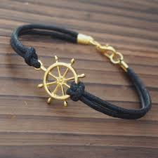 mens bracelet handmade images Gold rudder bracelet for men online buying quality black wax cord jpg