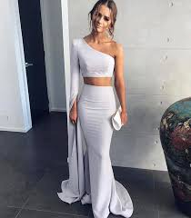 one shoulder two piece prom dress mermaid formal prom gown with