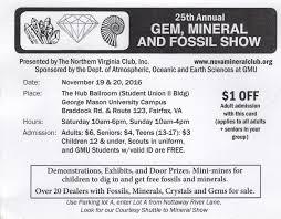 Washington Gmu Map by 25th Annual Gem Mineral U0026 Fossil Show Nov 19 20 2016 Northern