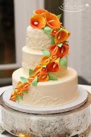 cake walk mango calla lily wedding cake