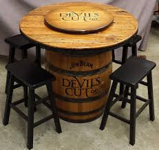Whiskey Barrel Pub Table Jim Beam Devil U0027s Cut Barrel Table For Rustic Home By Whiskeycartel