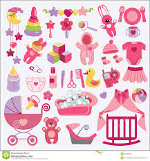 newborn baby items set collection baby shower stock vector