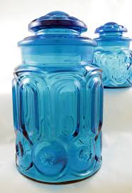 vintage glass canisters kitchen vintage blue moon and glass canister set retro glass