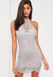 grey bodycon dress grey lace racer neck bodycon dress missguided