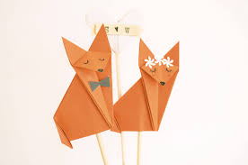 Origami Wedding Cake - fox wedding cake topper foxes cake topper origami fox origami