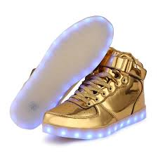 light up sneakers led shoes men gold high top remote