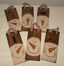 country primitive snowman folk art christmas wood ornaments
