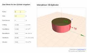 fläche zylinder berechnen kompletten zylinder aus nur zwei werten berechnen neues mathe