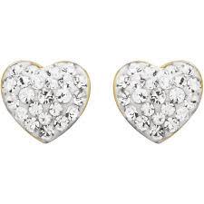 18k gold earrings luminesse 18k gold sterling silver white heart earrings with
