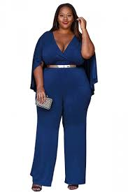 plus jumpsuit womens plus size v neck high waist jumpsuit sapphire