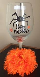 cute personalized wine glass black vinyl happy halloween decal