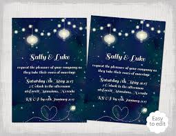 printable wedding invitation template starry night