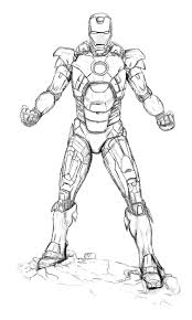 uncoloured iron man mark coloring pages