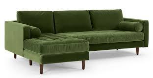 canap d angle vert canapé d angle 4 places avec méridienne à gauche velours