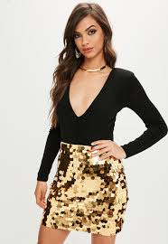 gold sequin mini skirt missguided
