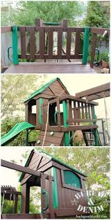 stain a wood playset to make it look new again burlap