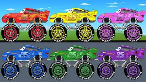 lightning mcqueen monster truck videos disney lightning mcqueen learn colors video learning for kids