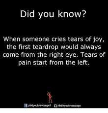 did you when someone cries tears of the teardrop