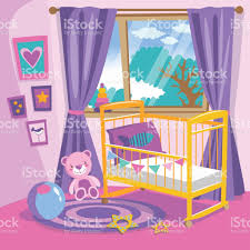 Bedroom Cartoon Girls Bedroom Interior Flat Style Cartoon Vector Illustration Baby