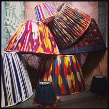 these custom ikat and silk lampshades by robert kime ltd london