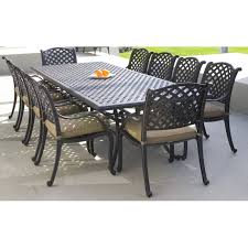 13 Piece Patio Dining Set - cast aluminium rectangular dining table includes umbrella hole